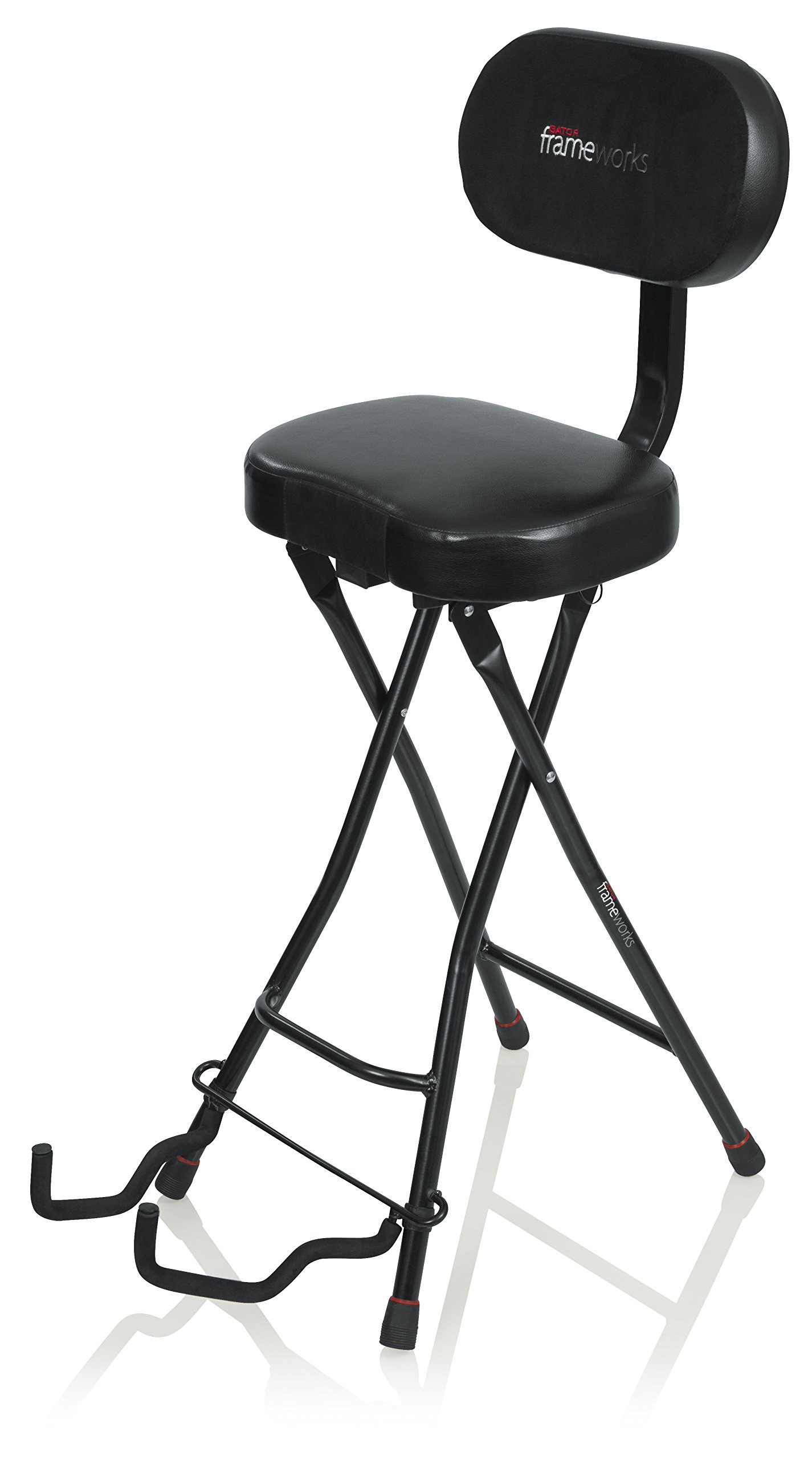 Gator Frameworks Guitar Seat with Padded Cushion, Ergonomic Backrest and Fold Out Guitar Stand; Holds both Acoustic and Electric Guitars (GFW-GTR-SEAT)