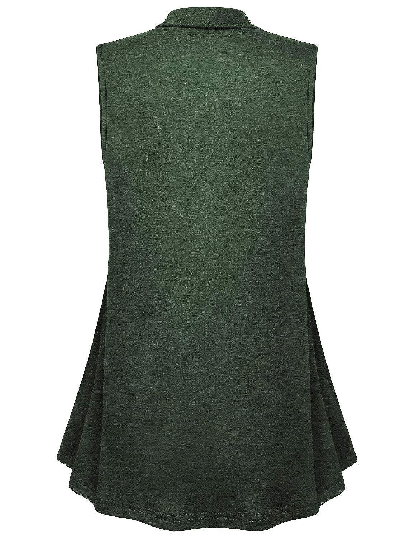 Cestyle Womens Lapel Open Front Sleeveless Vest Cardigans