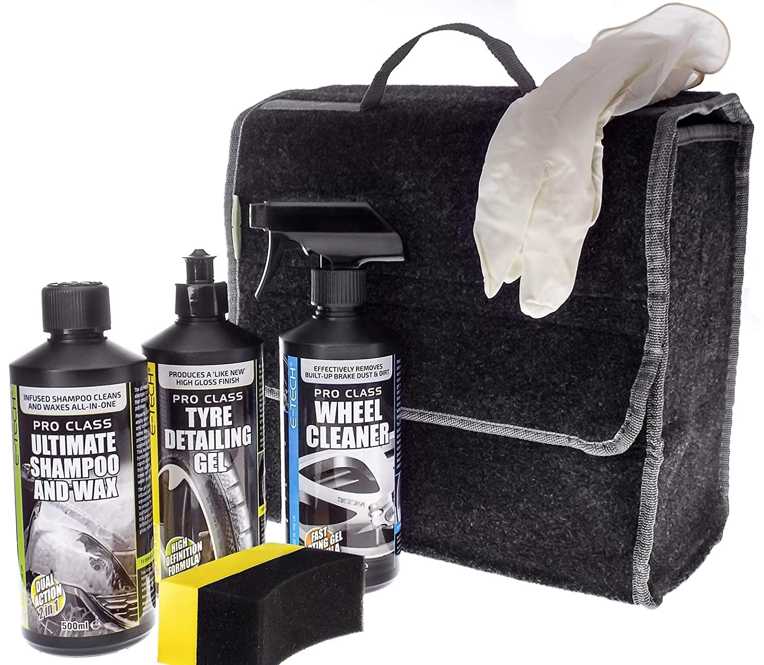 MP Essentials E-Tech 6pce Wheel Cleaner, Tyre Gel & Body Wash Wax Car Valeting Kit - GREAT GIFT IDEA ETECH