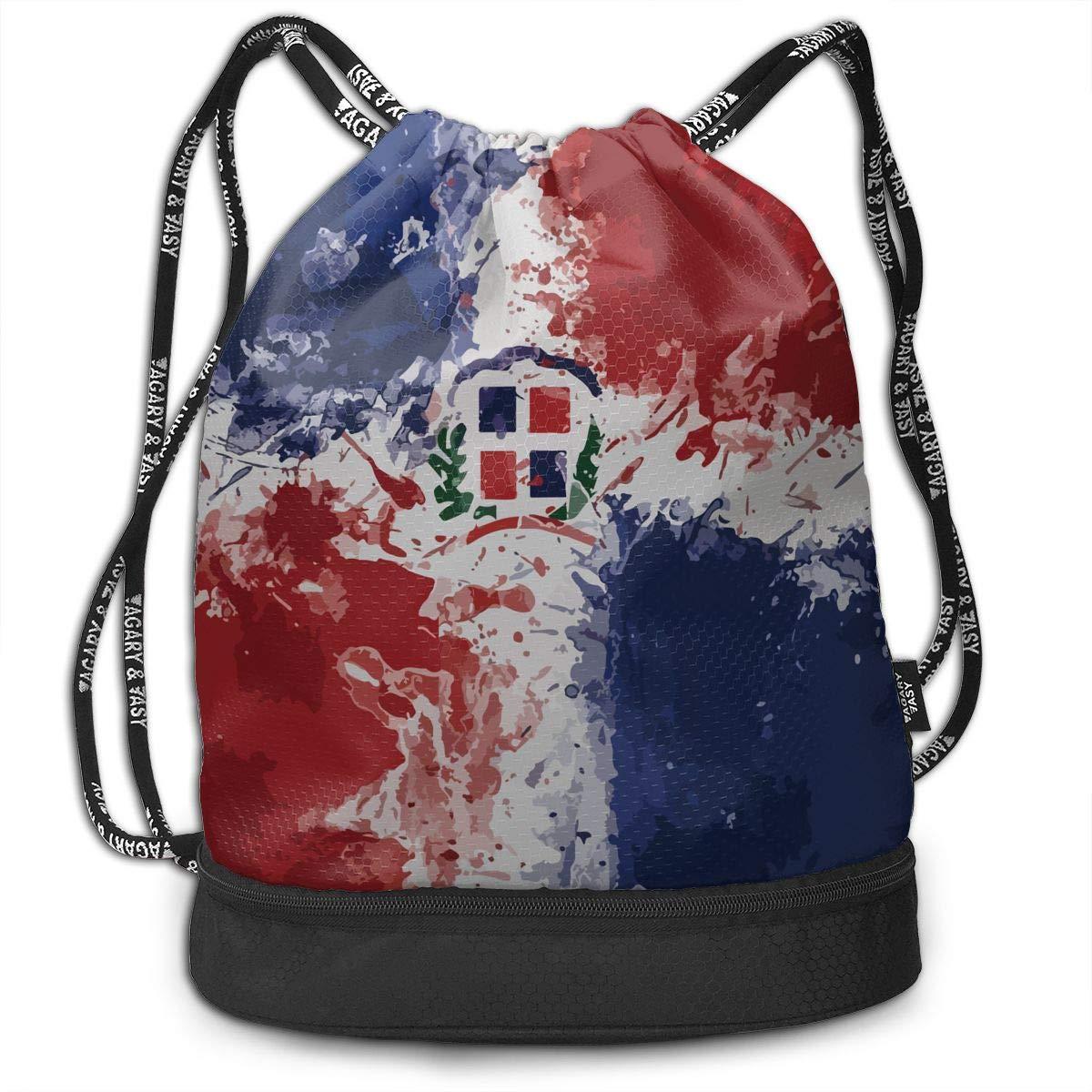 HUOPR5Q Dominican Republic Flag Drawstring Backpack Sport Gym Sack Shoulder Bulk Bag Dance Bag for School Travel