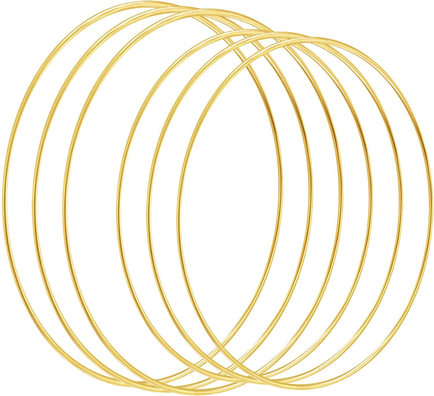 3 mm x 20 Inches, 3 mm x 16 Inches Macrame Supplies and Crafts Home Decor Thanksgiving Christmas Wreath Baby Mobile 6 Pieces Large DIY Wreath Gold Metal Rings for Wedding