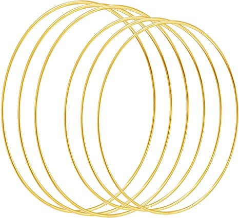 3 mm x 20 Inches, 3 mm x 16 Inches Macrame Supplies and Crafts 6 Pieces Large DIY Wreath Gold Metal Rings for Wedding Baby Mobile Christmas Wreath Thanksgiving Home Decor