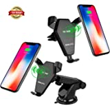 SSKJTC Qi Wireless Car Mount Charger,Gravity Linkage Fast Charging for Samsung Galaxy S8, S7,S6/S7 Edge, Note 8 5 & Qi Enabled Devices Standard Charge for iPhone X/8/ 8 Plus
