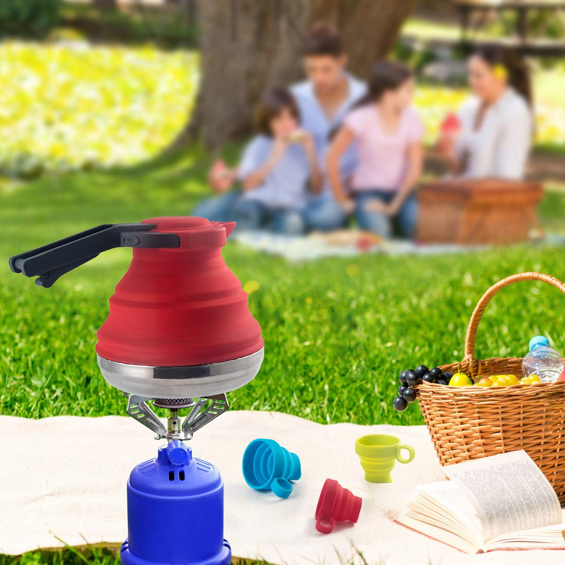 Louty Outdoor Portable Collapsible Silicone Tea Kettle for Home Travel Camping with Three Silicone Collapsible Tea Cups