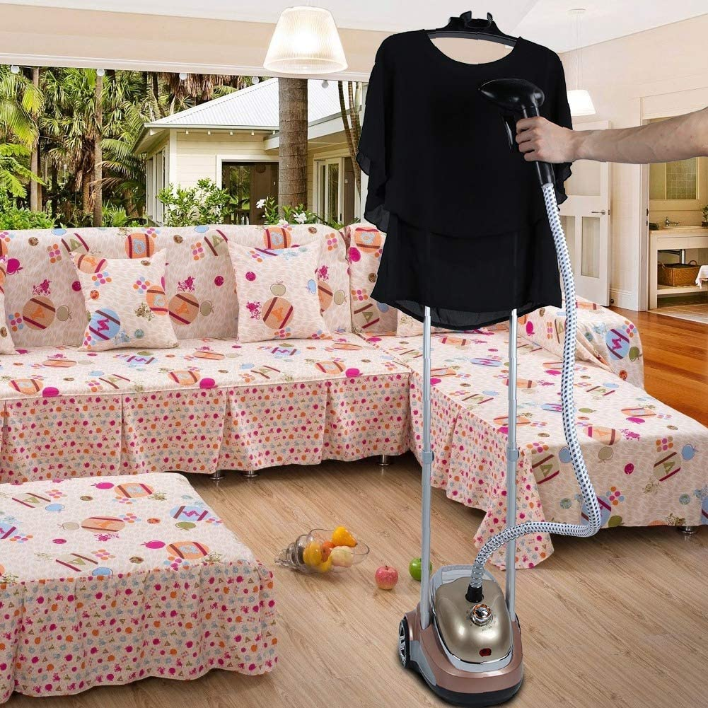 10 Levels Adjustable Fabric Garment Hanger Large Capacity Garment Clothes Steamer Ironing Machine with Stand US Plug 110V 1.8L Standing Garment Steamer