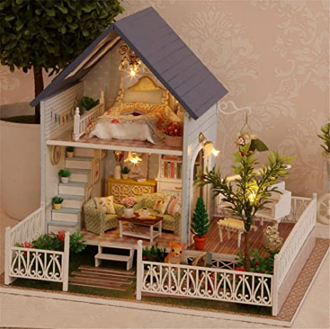 Mini Diy Hanging Wooden House Modelwooden Music Box Creative Wedding Gift To