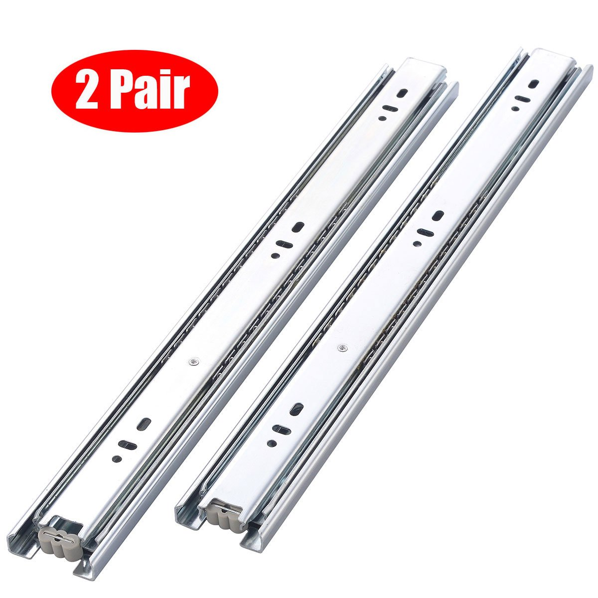 "KINGO Home 2 Pair of 18 inch Full Extension Stainless Steel Hardware Ball Bearing Side Mount Drawer Slides, Available in 10'' 12'' 14'' 16'' 18"" 20"" Lengths by KINGO HOME (Image #1)"