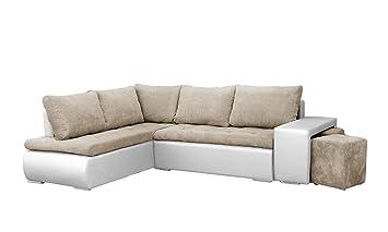 nouveau produit b804d b33c6 MEUBLO Canapé d'angle Convertibles avec Deux poufs Tissu + Simili Cuir  BELGRAD (Beige + Blanc, Canapé d'angle Gauche)