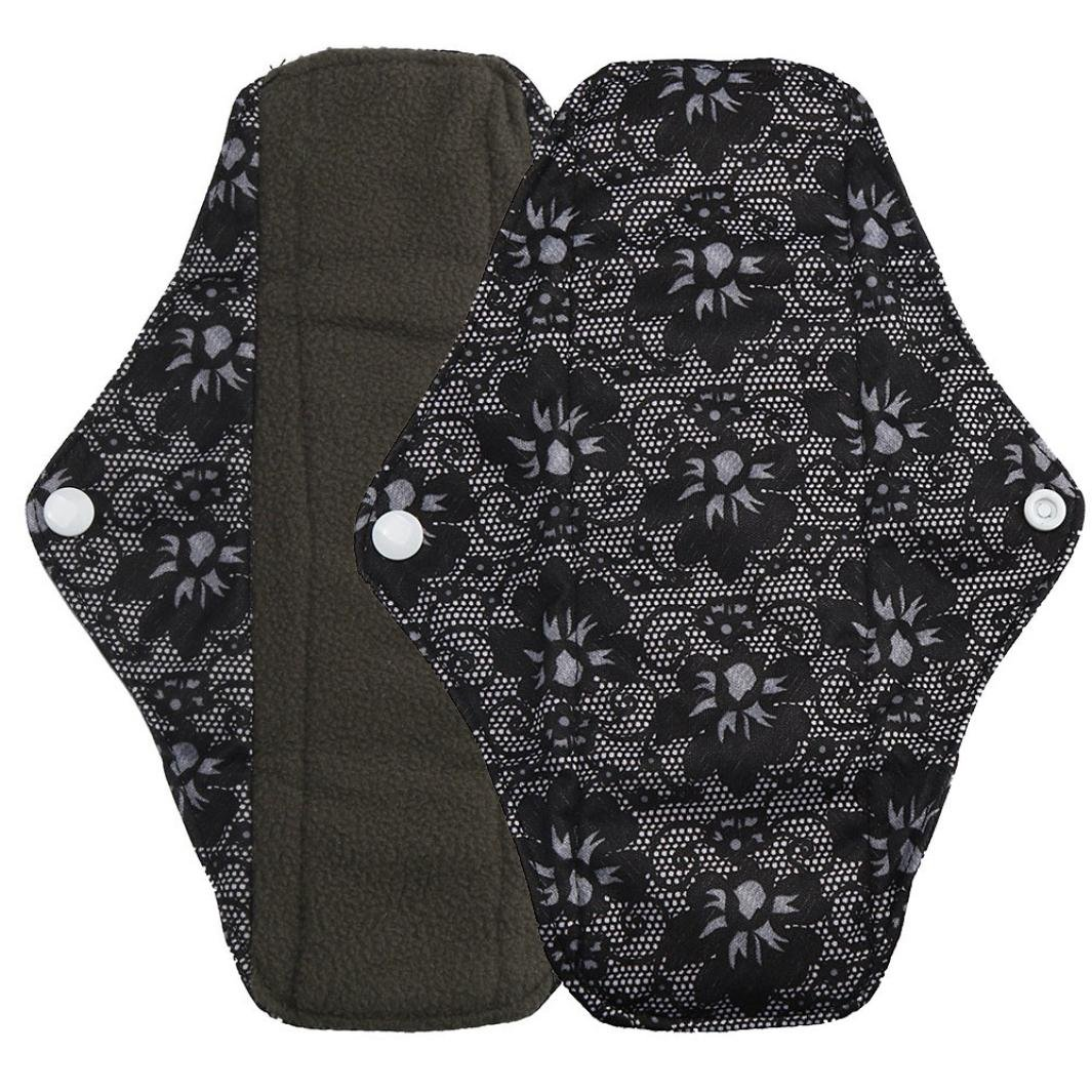 Gallity Reusable S-L Size Cloth Menstrual Pads Bamboo Charcoal Absorbency Layer Washable Sanitary Napkins Mama Pad (S, black)