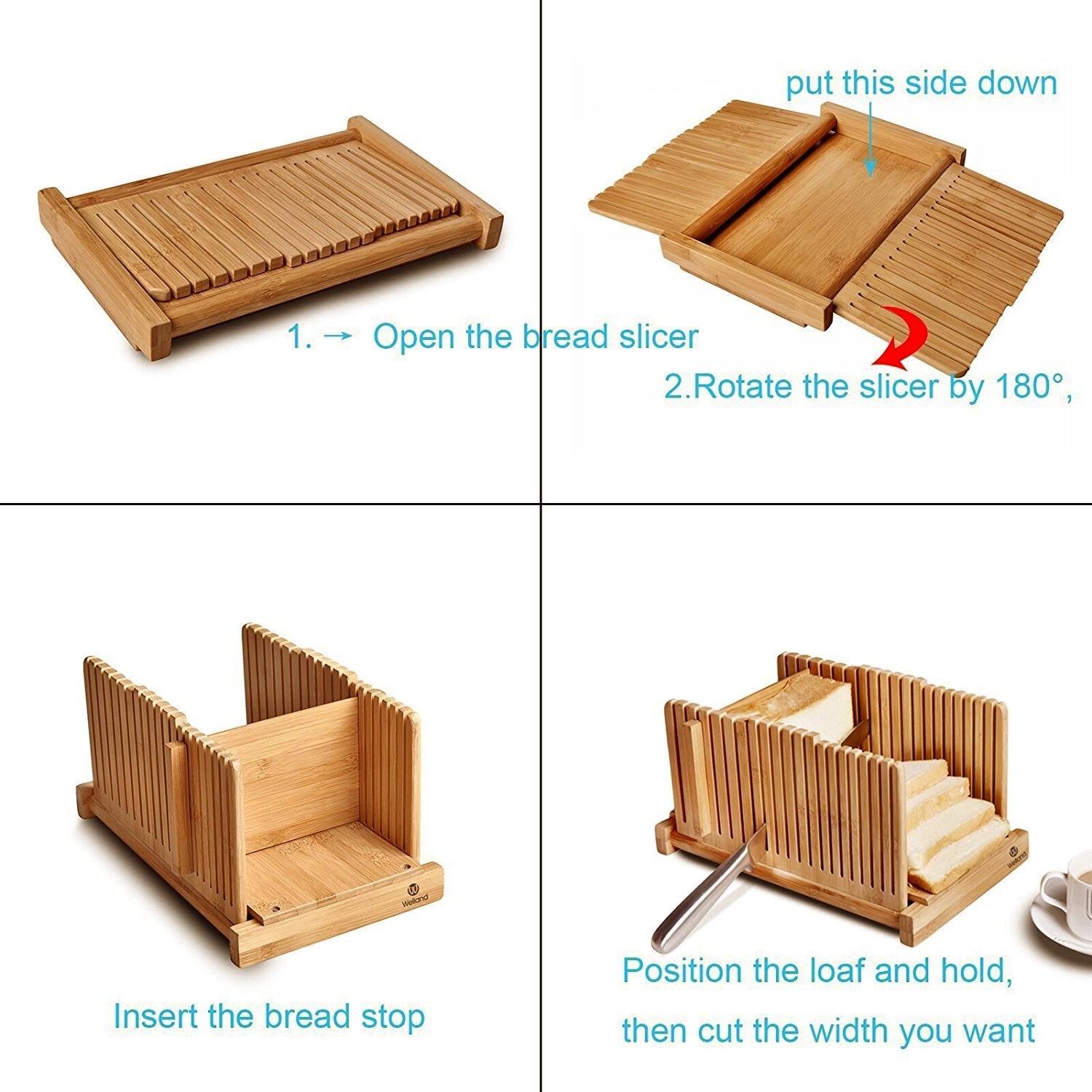 WELLAND Bamboo Bread Slicer Guide, Foldable Wooden Toast Cutting Guide with 3 Slicing Sizes for Homemade Breads, Loaf Cakes by WELLAND (Image #3)