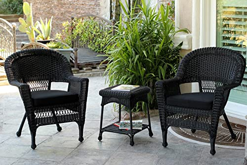 Jeco 3 Piece Wicker Chair and End Table Set