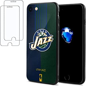 """Phone Case for New iPhone SE 2020 Case/iPhone 8 Case/iPhone 7 Case [with 2Pcs Tempered Glass Screen Protector]- Anti-Scratch Cover Shell 4.7""""Team Logo Phone Case - Jazz"""