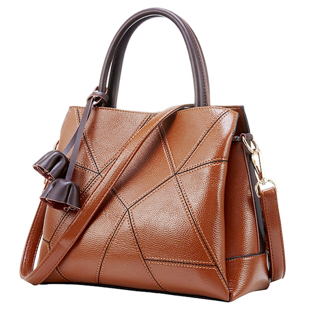 Women Leather Cowhide Handbag Top Handle Bags Crossbody Purses and Handbags (Brown)