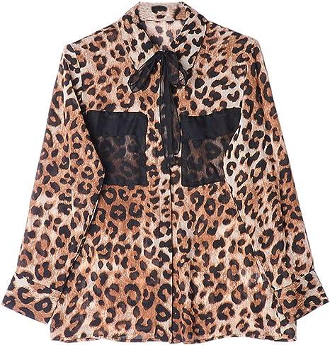 XCXDX Camisa De Gasa De Leopardo De La Moda, Blusa De Manga Larga Casual De Las Señoras Atractivas De La Primavera: Amazon.es: Deportes y aire libre