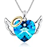 """Amazon Price History for:""""Love Angel""""Heart Pendant Necklace Women Jewelry Christmas Birthday Gifts for Daughter Girls Blue Crystals from Swarovski"""