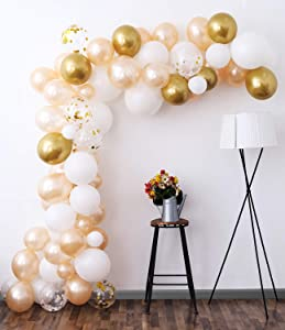 White Gold Balloon Garland Kit, 105Pcs 12Inch Balloon Garland Including Chrome Gold, White, Blush Pearl Confetti Balloons Decorations Backdrop Ideal for Wedding Birthday Baby Shower Bridal Party Decorations