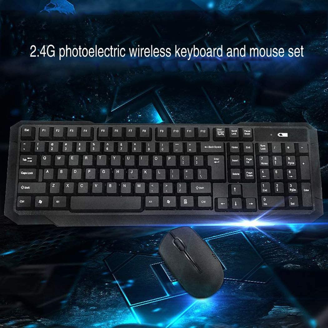 Durable Ergonomic Ultra-Thin Wireless Keyboard and Mouse Set 2.4G photoelectric Wireless Keyboard and Mouse Set