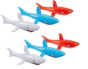 """One Dozen (12) Inflatable SHARKS 24"""" / Birthday PARTY DECORATIONS Favors/Decor /"""