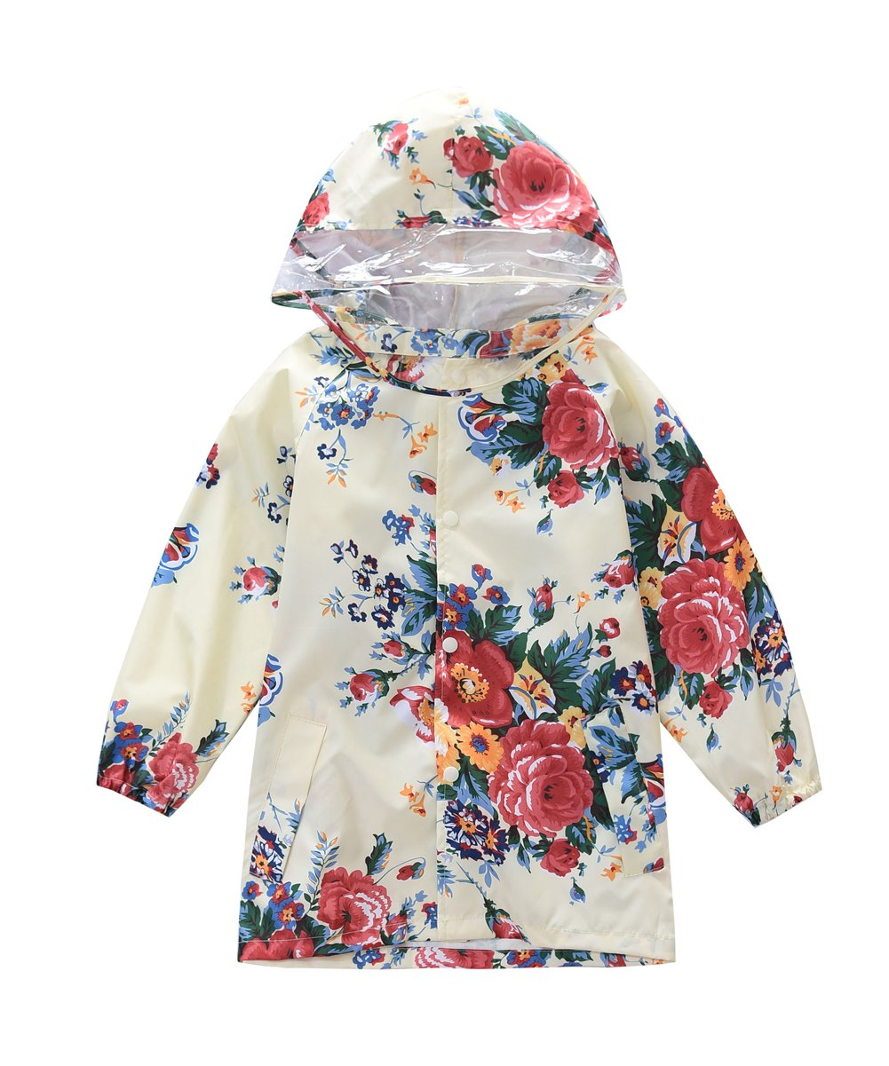 M2C Girls Floral Patterned Hooded Waterproof Raincoat 4/5 Yellow