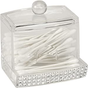 Laura Ashley Q-tip Box in Pave Diamond Design, Super Clear