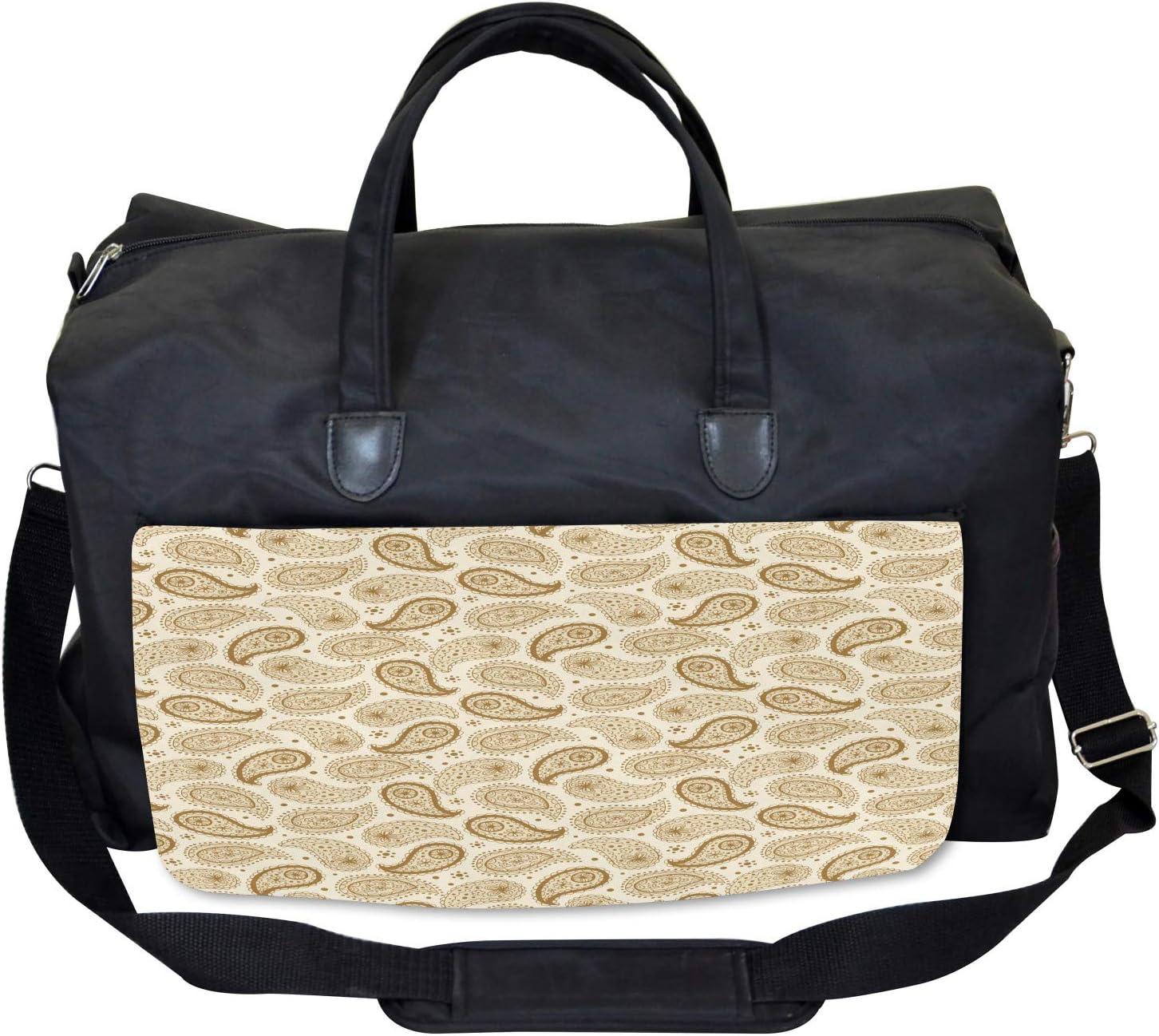 Ambesonne Beige Gym Bag Large Weekender Carry-on Paisley Oriental Persian
