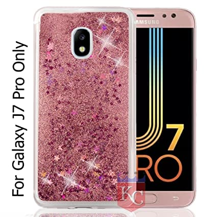 cheap for discount 4b3e0 cef34 KC Liquid Moving Glitter Sparkle Stars Transparent Soft Girls Design Back  Cover for Samsung Galaxy J7 Pro (Rose Gold)