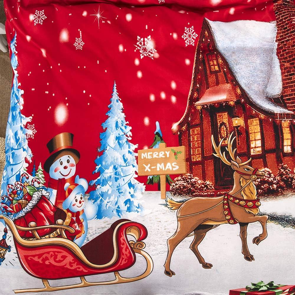 Stil 1, 135x200 cm + 80x80 cm*1 Rot Bettw/äsche-Set Weihnachten Baum Elch Wagen Schneemann Bettbezug und Kissenbezug Christmas Mikrofaser Kinder Jungen M/ädchen