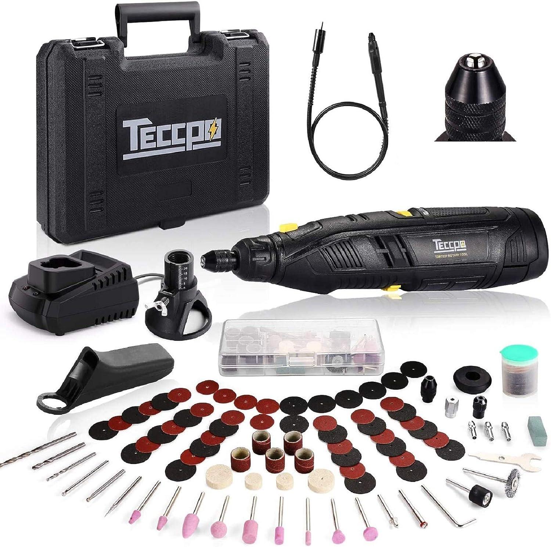 Mini Amoladora 12V Sin Cable, TECCPO Herramienta Rotativa Eléctrica 2.0Ah y Cargador rápido, 5000-28000RPM, 80 Accesorios, Portabrocas de cierre, Eje Flexible, para Cortar, Lijar, Pulir, Tallar