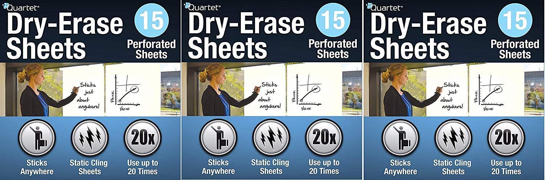 Quartet Dry Erase Sheets, 24-inch x 31 1/2-inch (85563) (Pack of 3) by Quartet