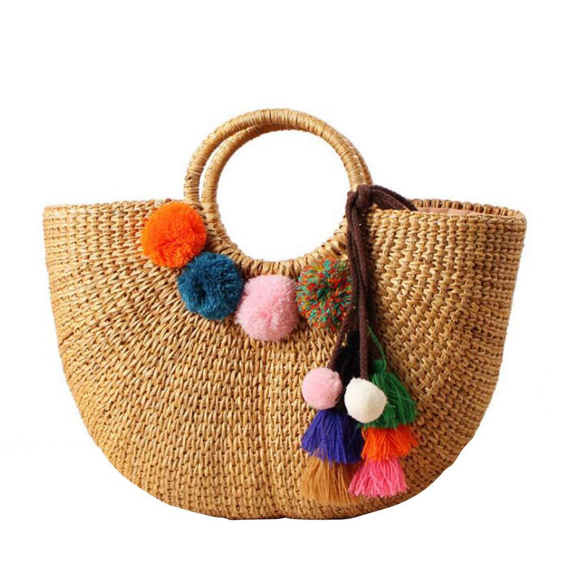 Uzanesx Woven Rattan Handtasche gewebt Rattan Handtasche Stroh Tasche Damen Geldbörse (Farbe : 2)