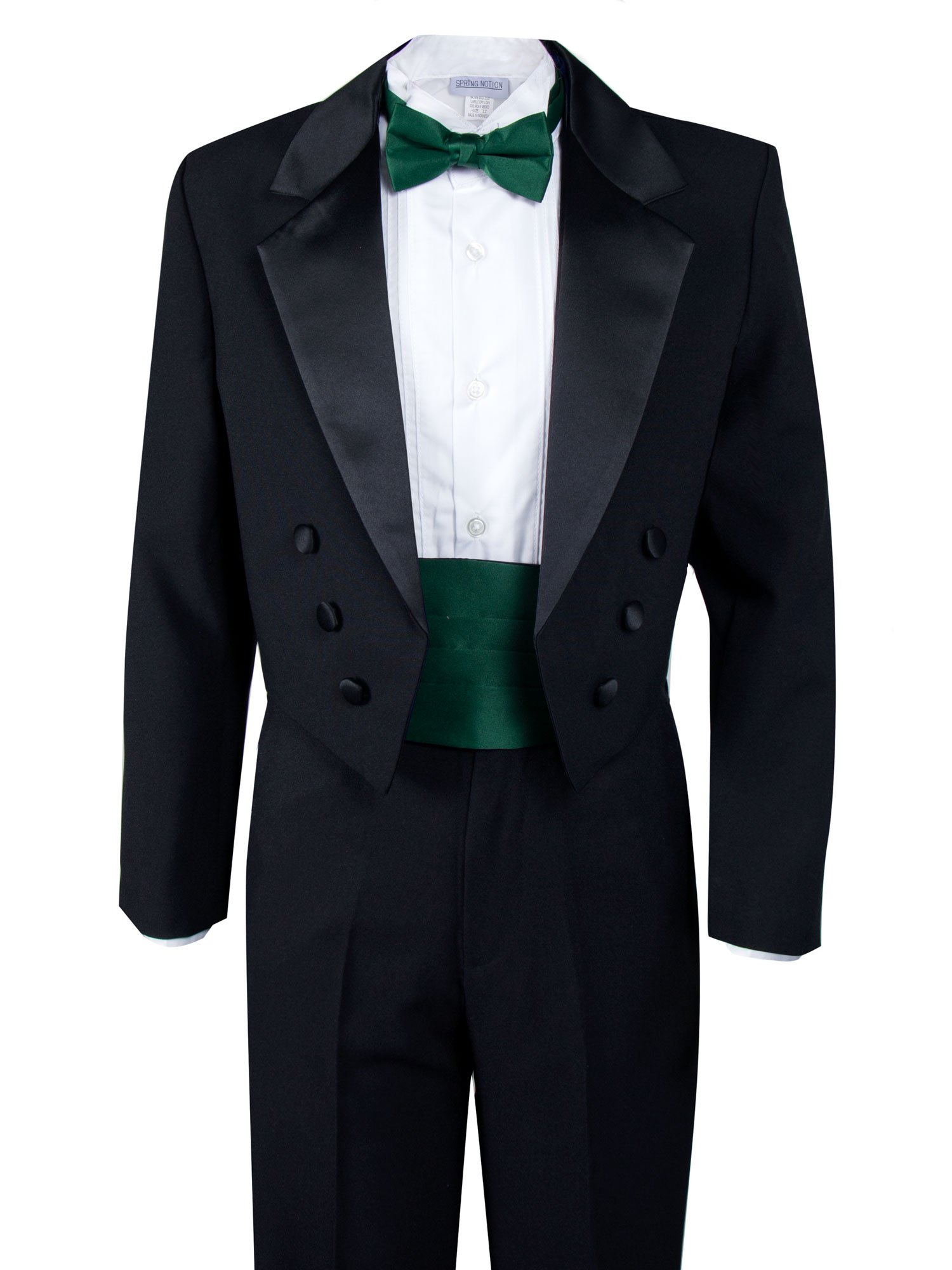 Spring Notion Boys' Black Classic Tuxedo with Tail Emerald 16