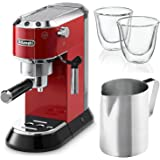 Delonghi EC680R DEDICA 15-Bar Pump Espresso Machine, Red Includes Two Delonghi Espresso Glasses and Stainless Steal Frothing Pitcher