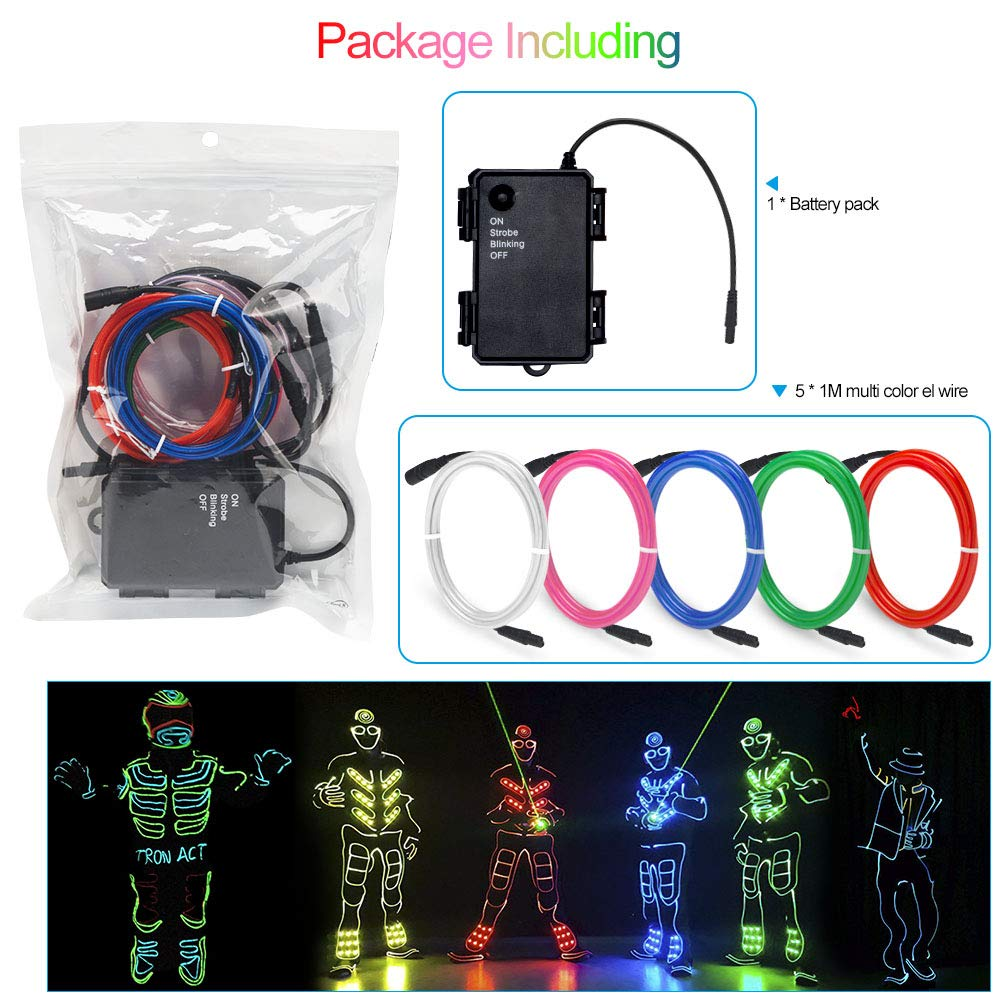 Basdien Waterproof EL Wire electroluminescent Wire Kit 5x1m Multi Color Male to Female Connector with Portable el Wire Inverter for Costumes Decorations