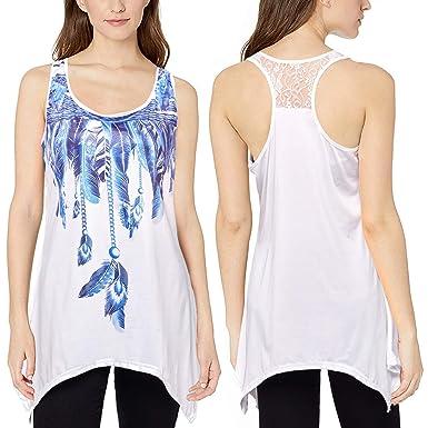 dde1737a94 Women's Lace Racerback Tank Tops Feather Print Flowy Long Tunic Cute Loose  Sleeveless Shirts Blue