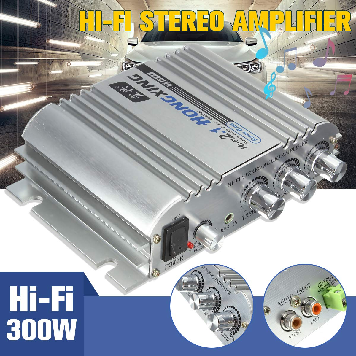 SalaStore  HiFi 12V Mini 2.1Channel Digital Audio Auto Car Stereo Amplifier Car Home Boat Audio Amplifier AMP 300W