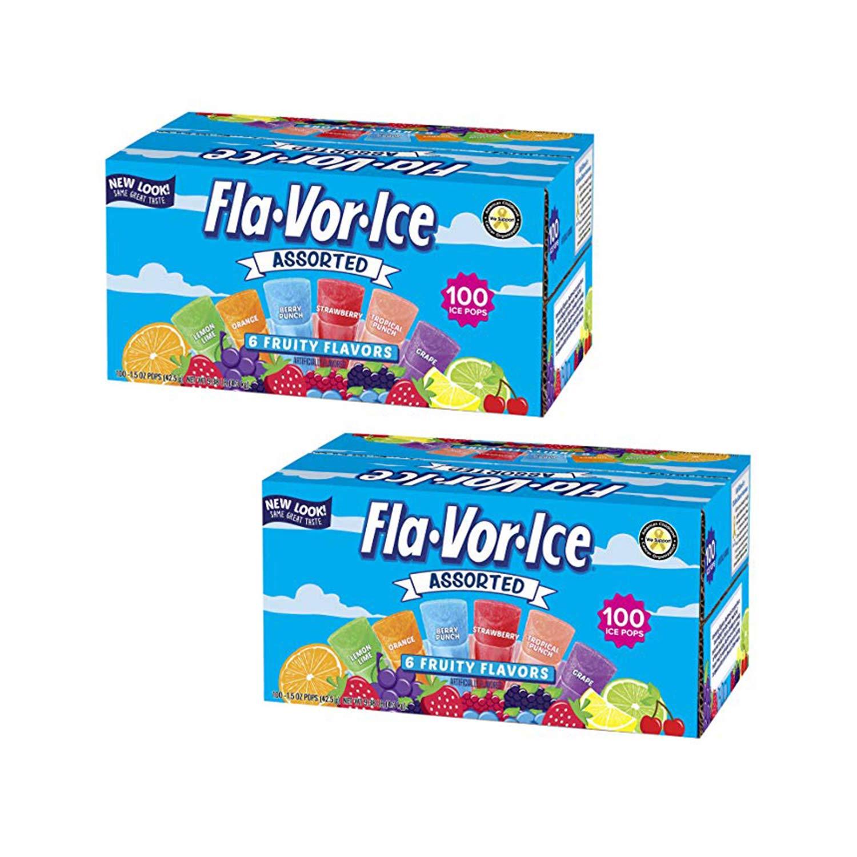 The Jel Sert Company Pops Fla-Vor-Ice Giant Popsicles Variety Pack of Jumbo Freezer Bars (1.5oz/100-Count) (Pack of 2), 1.5