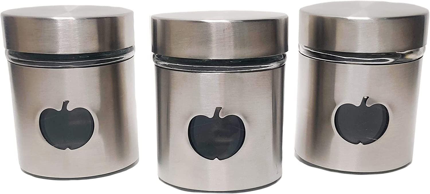 3 Piece Stainless Steel Glass Kitchen Jars Storage Container Set With Apple Shaped Window 4'3.5'