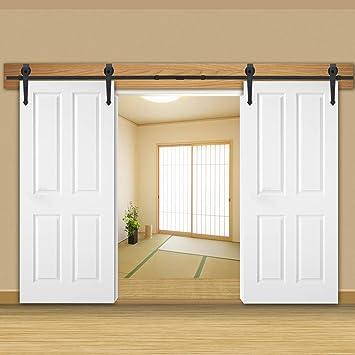 Juego de herramientas para puerta corredera doble de 12 pies con perchas en forma de flecha y raíl de 12 pies: Amazon.es: Bricolaje y herramientas