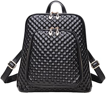 7d3d498bae Coolcy New Fashion Women s Genuine Leather Backpack Casual Shoulder Bag ( Black)