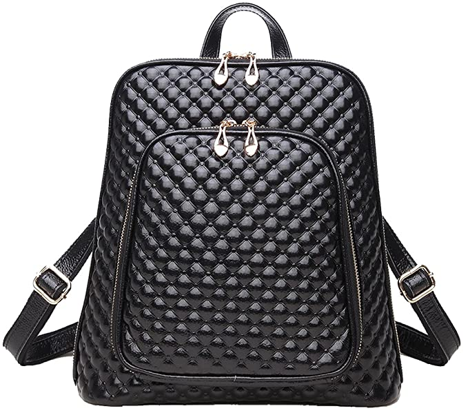 1a1fec58a9 Coolcy New Fashion Women s Genuine Leather Backpack Casual Shoulder Bag  (Black)