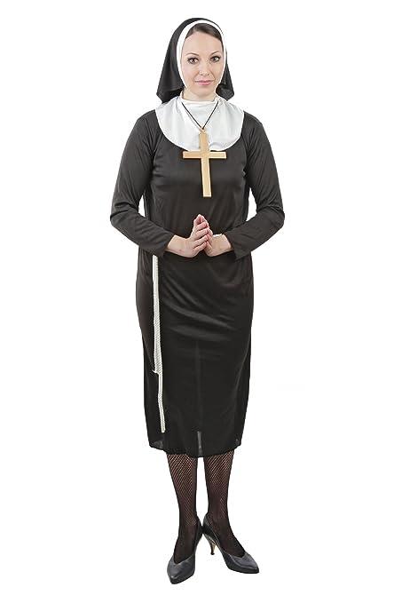 Foxxeo Traje de monjas para la Fiesta temática del Carnaval de Damas, tamaño: S