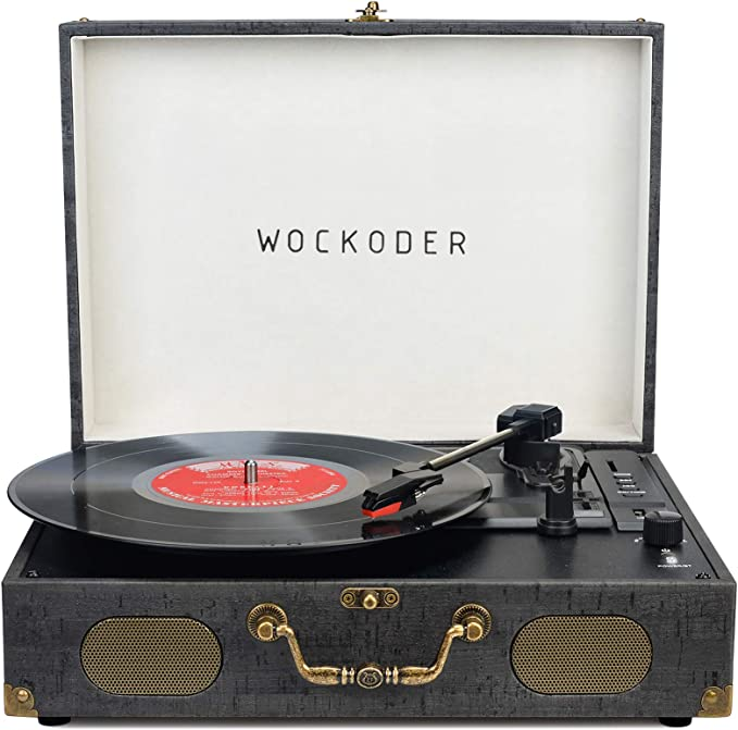 Turntable Record Player Portable Wireless 3 Speed Vinyl Record Player with Built-in Speakers Classic Vinyl Player Black Vintage Suitcase Turntable with Speakers Nostalgic Record Player