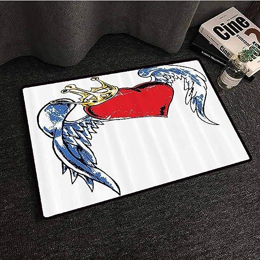 Tattoo Decor - Felpudo de Entrada, diseño de corazón con alas y ...