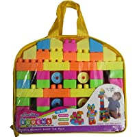FashionandBeads Plastic 100Pcs Building Blocks with a Packing Bag for kids, 2 Years (Multicolour)