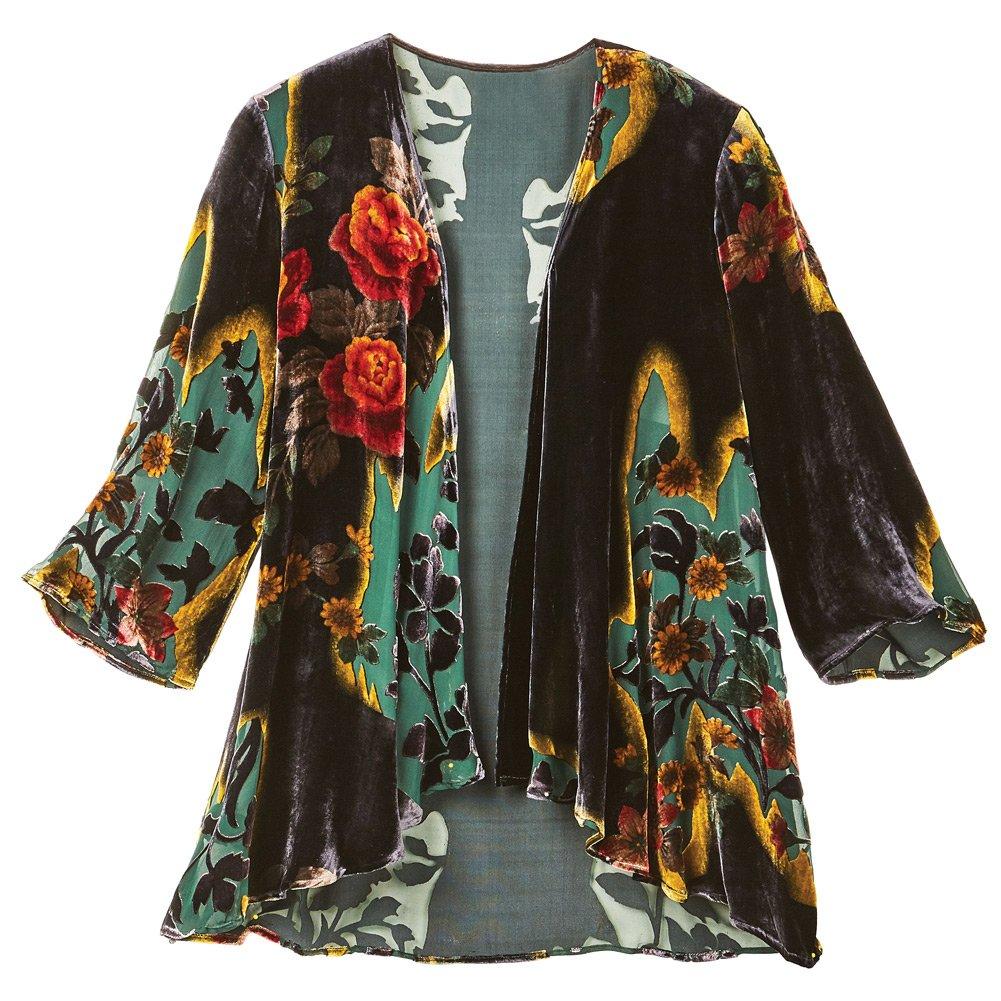 CATALOG CLASSICS Women's Victorian Garden Black Velvet Fashion Jacket - 3/4 Sleeves - 1X