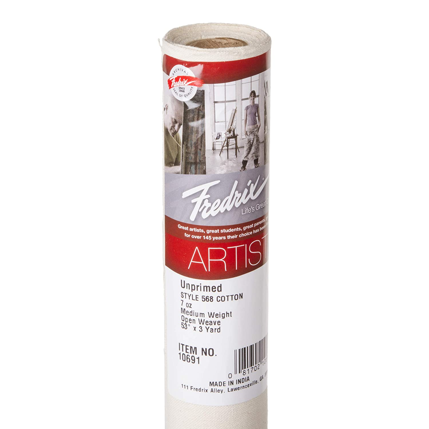1 Roll 53 Inches by 3 Yards Fredrix 10691 Raw 568 Cotton Canvas Roll