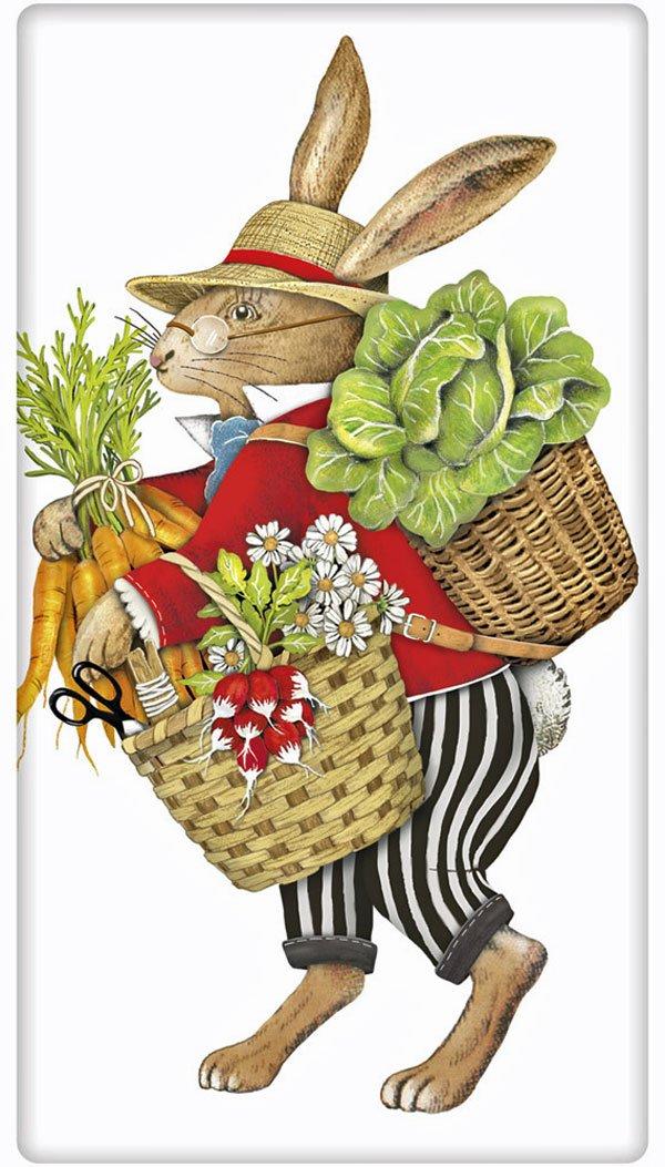 "Easter Vegetable Rabbit Bunny Flour Sack Cotton Kitchen Dish Towel - 30"" x 30"" Mary Lake Thompson design"