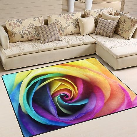 Amazon Com Alaza Colorful Rainbow Rose Flower Area Rug For Living