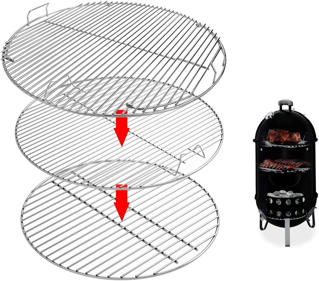 Uniflasy 7436 Upper Cooking Grate, 85041 Lower Grate, 63014 Charcoal Grate for Weber Charcoal Grill 22 Inch Smokey Mountain Cooker, 22