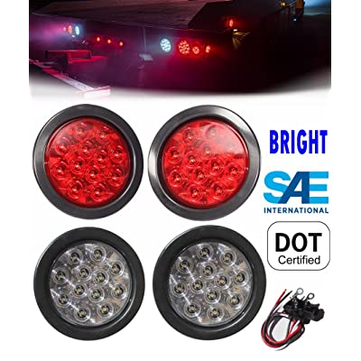 "2 Red + 2 White 4"" Round Led Stop Turn Tail Back-up Reverse Fog Lights Include Lights Grommet Plug for Truck Trailer RV - WE PAY YOUR SALES TAX: Automotive"